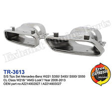 """Exhaust tailpipes W221 S350/ S450/ S500/ S550 CL Class W216 """"AMG Look"""" 2006-2013"""