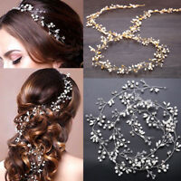 Women Girl Bride Wedding Crystal Pearl Hair Head Band Garland Flower Headband