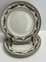 """BOOTHS Silicon China England 2 Antique Red & Gold Floral 10"""" Dinner Plates 9852"""