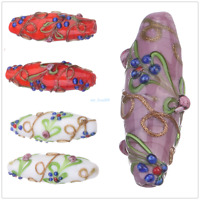 Craft Handmade Oval Lampwork Flower Loose Spacer Glass Beads Jewelry Findings