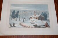 "ANTIQUE PRINT "" WINTER"" LUCAS PROGRESSIVE DRAWING BOOK 1827"