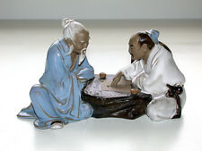 Beautiful Vintage Two Japanese Men Playing Checkers Glazed Clay Figurine