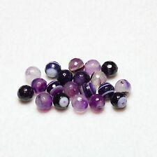 20 NATURAL MADAGASCAR AGATE FACETED ROUND BEADS 8mm PURPLE (BBA140)