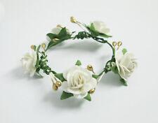 Handmade White Rose Flower Crown Headband Hair Accessories For Barbie Fr Doll