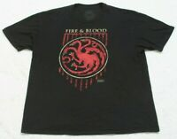 Game Of Thrones Fire & Blood Black Cotton Tee T-Shirt Top 2XL Short Sleeve Mens