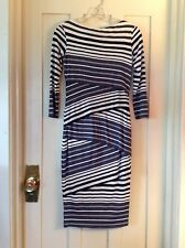 Bailey/44, NWOT Striped, 3/4 Sleeved, Pieced Column Dress, USA, Size S