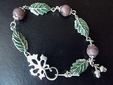 Agate Acorn & Leaf Bracelet   Pagan Nature Witch   Tibetan Silver