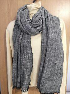 Men's Women's Scarf 100% Linen Cotton Linen Grey/Beige/Charcoal Shawl Soft Touch