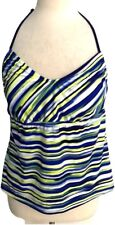 Adidas Plus 16 Bathing Swim Suit Tankini Halter Top Blue Stripe Back Spell Out
