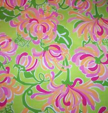 RARE LILLY PULITZER FABRIC*LA TE DAH SPIDER LILY*17X17*PINK GREEN TANGERINE*