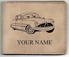 Hudson Hornet Leather Billfold With Drawing and Your Name On It-Nice Quality