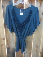 WRAPPER Women's BLOUSE shirt top size XS extra small Gray with black embroidery