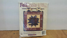 "Life is a Patchwork of Love Feltworks applique FOLK Art Craft Kit 8"" x 8"" USA"