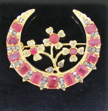 925 Sterling Silver Victorian Style Rose Cut Natural Diamond & Ruby Brooch Pin