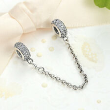 .925 Sterling Silver Pavé Inspiration Safety Chain w Clear AAA CZ fit Bracelet