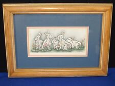 "Signed Grace Feyock Easter Bunny Rabbits Print #652/1800 Limited Edition,14""x10"""