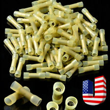 100pcs 12-10 Gauge Heat Shrink Butt Wire Crimp Connectors Terminals Yellow