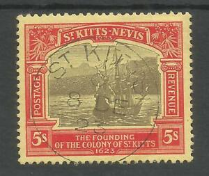 ST KITTS NEVIS SG59  1923 GV TERCENTENARY OF COLONY  5/- VERY FINE USED C.£250
