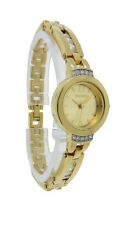 Elgin EG245 Women's Clear Crystals Gold Tone Round Analog Bangle Style Watch