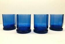 Vintage Set Of 4 Anchor Hocking Cobalt Blue Essex  Double Old Fashioned Glasses