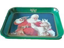 1983 Vintage Santa And Child Coca Cola Metal Tin Serving Tray