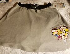 D Signed cotton gray tsum tsum skirt, black trim-New with tags, girl sizei 14-16