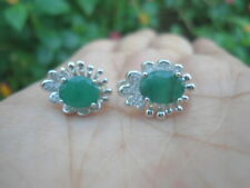 Natural 6.0X8.0mm EMERALD & White CZ Stones 925 Silver EARRINGS Nice Design