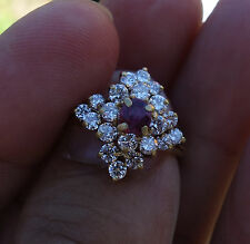 1.40ct H/VS-Si1 Coctail Ring .40ct Ruby 18k YG