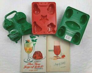 Vtg Jello Jigglers 5 Mold Trays, 2 Recipe Book Christmas Holiday Football Party