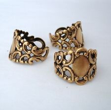 Ring Base Adjustable Filigree Setting Antique Brass Made in USA-2pcs.