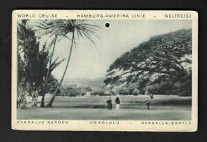 """1928 Hamburg-Amerika Line World Cruise """"Honolulu"""" Meter Permit Postcard"""