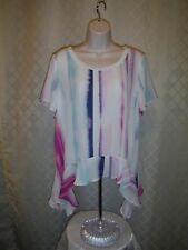 Short Sleeve asymetrical hem Blouse size LG Juicy Couture Lilac& other Stripe