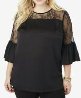 $54 NWOT ROAMAN'S Sz 28W Black Lace Illusion Blouse w/ Bell Sleeves 970