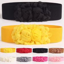 Women Girl Wide Stretch Elastic Waist Belt Solid Color Flower Waistband Novelty