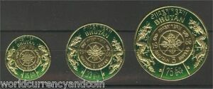 BHUTAN 1966 GOLD FOIL 50 NP 1 3 RUPEE /NU COMPLETE UN ISSUE Dual Currency STAMPS