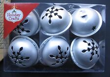 "Holiday Crafts Jingle Bells 1.5""-Set of 6-Silver-Metal-Ties Incl-Free Shipping"