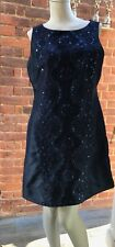 Monsoon Dark Blue Sequin Bead Embroidered Dress 12 14