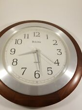 "Bulova Round Wood Frame Wall Clock, 14"" Diameter.  Quartz"