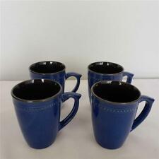 """== Lot of 4 Cuisinart Stoneware Jenna Blue Coffee Mugs 4-7/8"""" H CDST 1-S4JEB"""