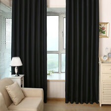 2Pcs Thick Blackout Grommet Solid Window Curtain Scarf Treatment Panels Drapes