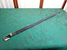 1991 Black Leather Belt w/Silver Buckle/Loop & Tip-Size 30-Free Shipping