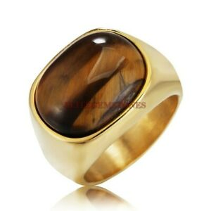 Natural Tiger Eye Gemstone with Gold Plated 925 Sterling Silver Men's Ring 1764