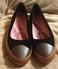 NEW~WOMENS FITFLOP DUE~BLACK/BROWN LEATHER BALLET COMFORT FLAT SHOES~EUR 41 US 9