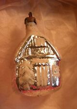 OLD BLOWN GLASS FROSTED HOUSE CHRISTMAS ORNAMENT