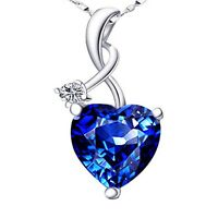 4.03Ct Created Blue Sapphire Heart Pendant Necklace 925 Sterling Silver w/ Chain