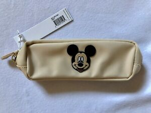 "NWT Stoney Clover Lane Sand Pencil Case With 2"" Mickey Patch Securely Adhered"