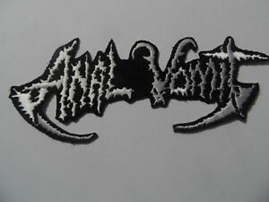 ANAL VOMIT,SEW ON WHITE EMBROIDERED PATCH