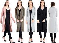 New Women's Ladies Celeb Slinky Maxi Duster Fasten Long Coat Jacket UK 8-16