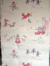 """1950s Wallpaper Vintage Child Life Wallpaper Co """"Nursery Rhymes"""" One Roll"""