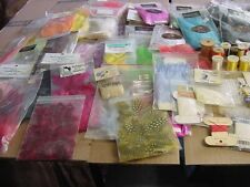 large lot vintage fly tying materials-feathers-string -tinsel-lead eyes-copper w
